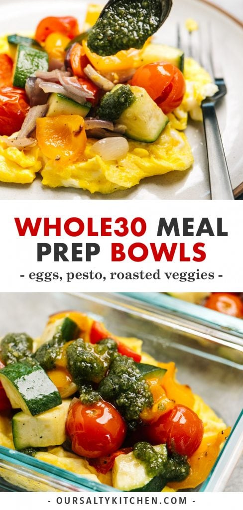 Pinterest collage for egg and pesto meal prep bowls.