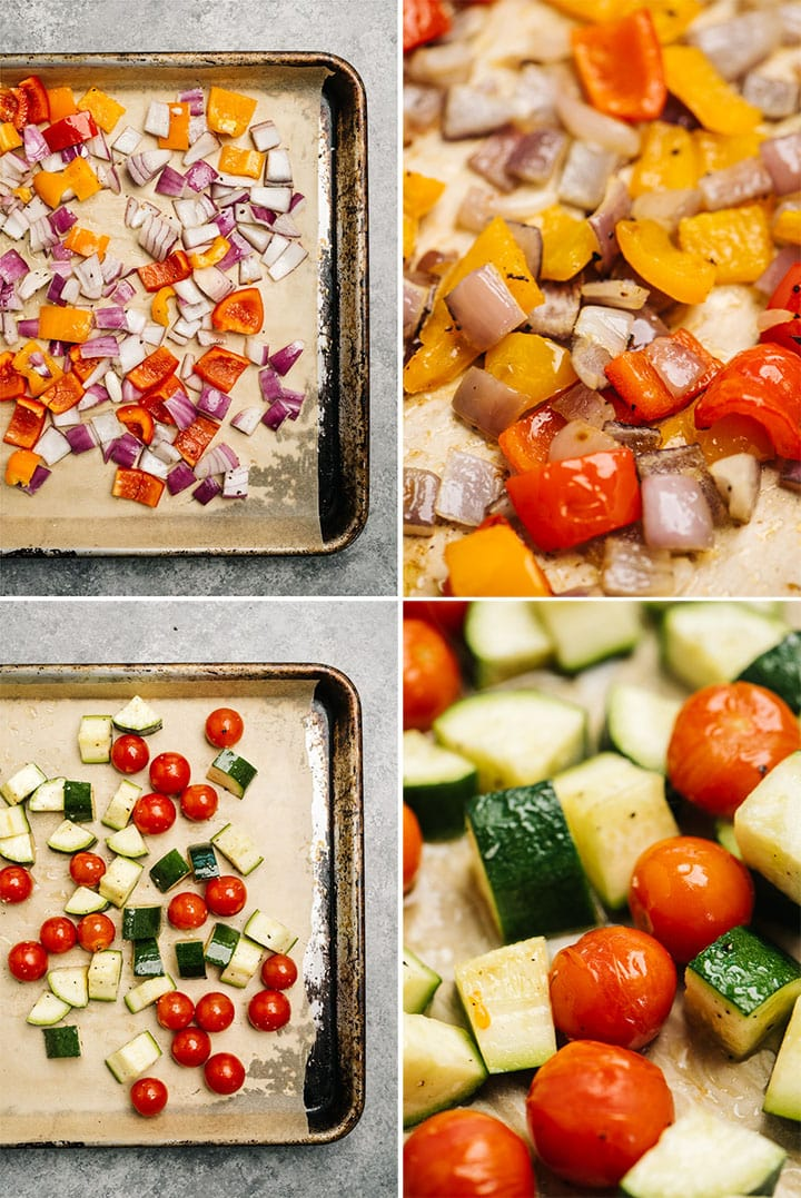A collage showing how to roast fresh vegetables - onions and bell peppers on one sheet, and tomatoes and zucchini on a second sheet.