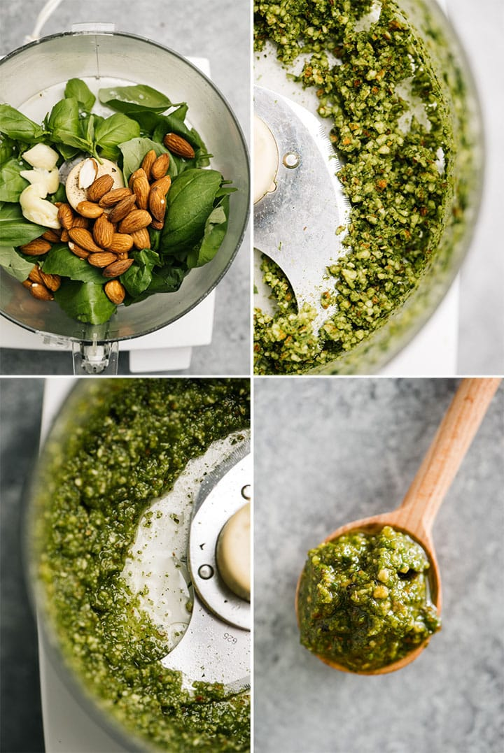 A collage showing how to make whole30 basil pesto in a food processor.