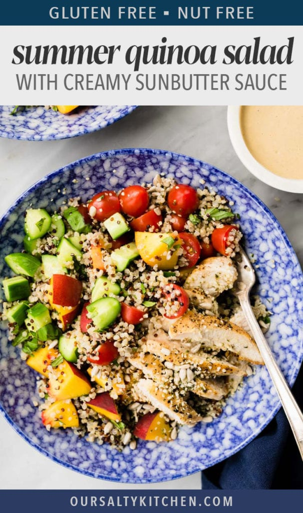 This crunchy and refreshing quinoa salad is the perfect summer lunch or dinner. It's packed with tons of healthy vegetables, grilled chicken, sunflower seeds, and hemp seeds, then drizzled with a creamy sunbutter dressing that is so good, you'll make the salad just to eat it! You don't need an excuse to make this incredibly delicious dairy free, gluten free, and nut free salad that's packed with protein, because it's totally guilt free!