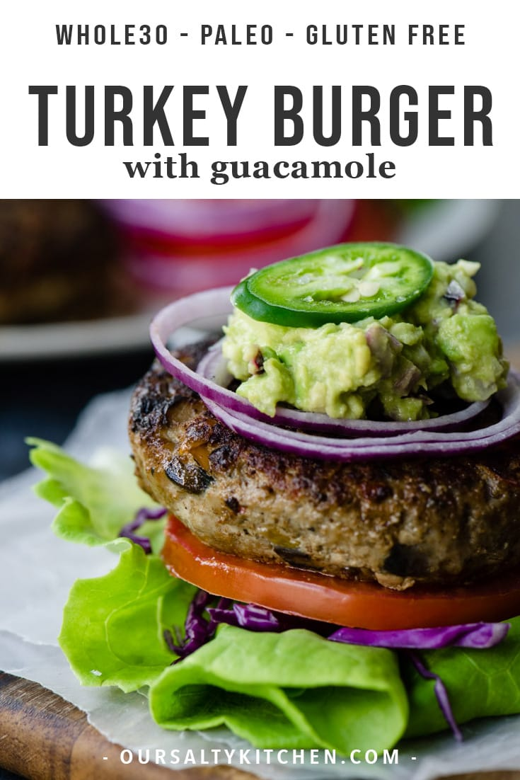 I'm not gonna lie - these are the very best paleo turkey burgers! Packed with veggies, pan seared to perfection, then topped with guacamole or a fried egg (or both!), this an epic bun free burger experienceyou really don't want to miss. This easy and delicious Whole30 and Keto burger recipe is moist, tender, and packed with flavor. You'll love this healthy, low carb burger for all of your summer dinners and cookouts!#paleo #keto #lowcarb #whole30 #turkey #burger