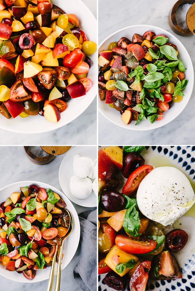 A collage showing how to make stone fruit and tomato salad with burrata cheese and fresh basil.