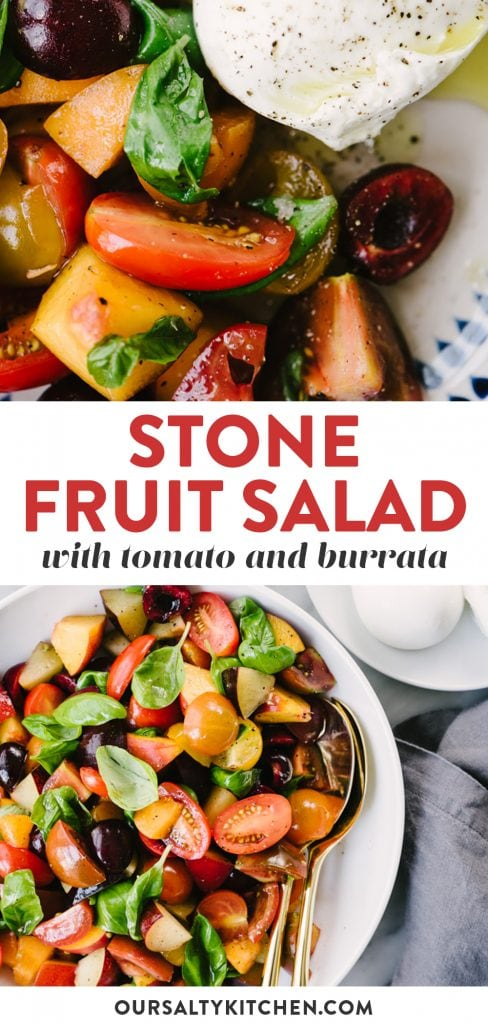 Pinterest collage for a peach and tomato stone fruit salad recipe.