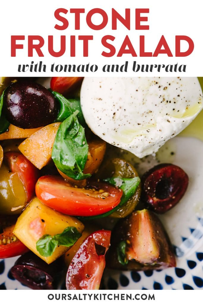 Pinterest image for a peach and tomato stone fruit salad recipe.