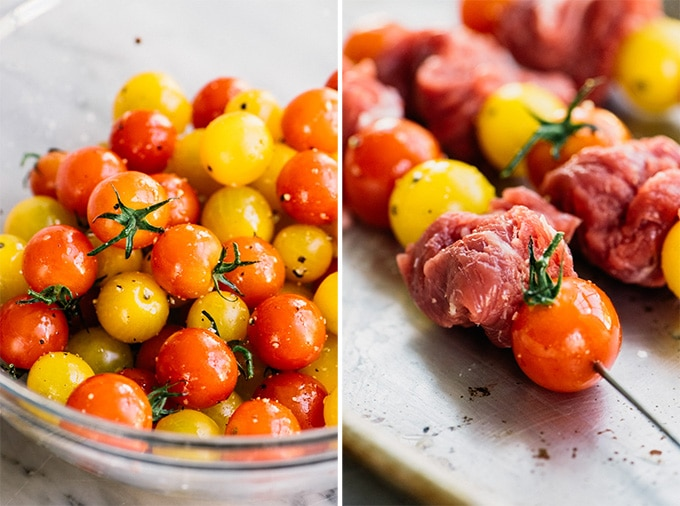 Left - cherry tomatoes tossed with olive oil, salt, and pepper. Right, tenderized flank steak and tomatoes threaded onto metal skewers.