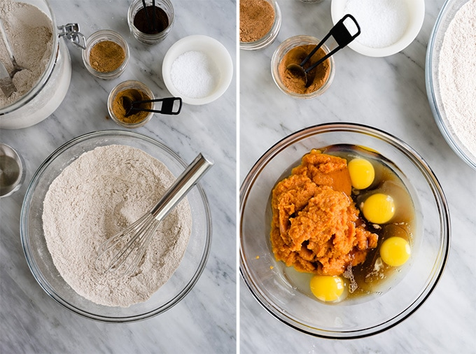 Wet and dry ingredients for healthy pumpkin bars in separate bowls on a marble table.
