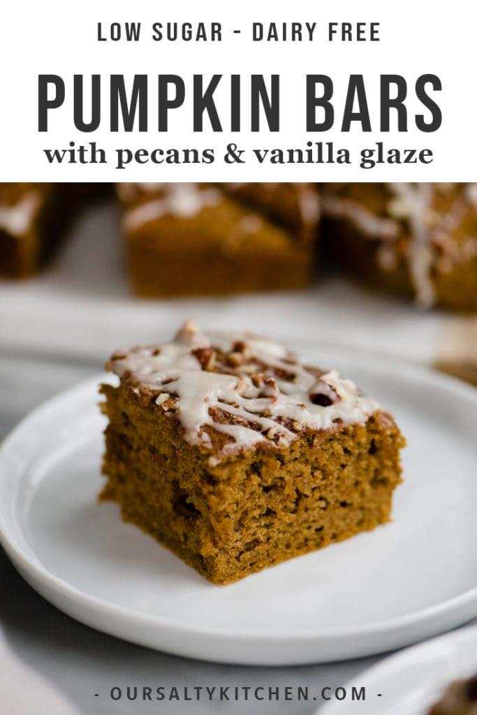 A healthy pumpkin bar with pecans and vanilla glaze on a dessert plate.