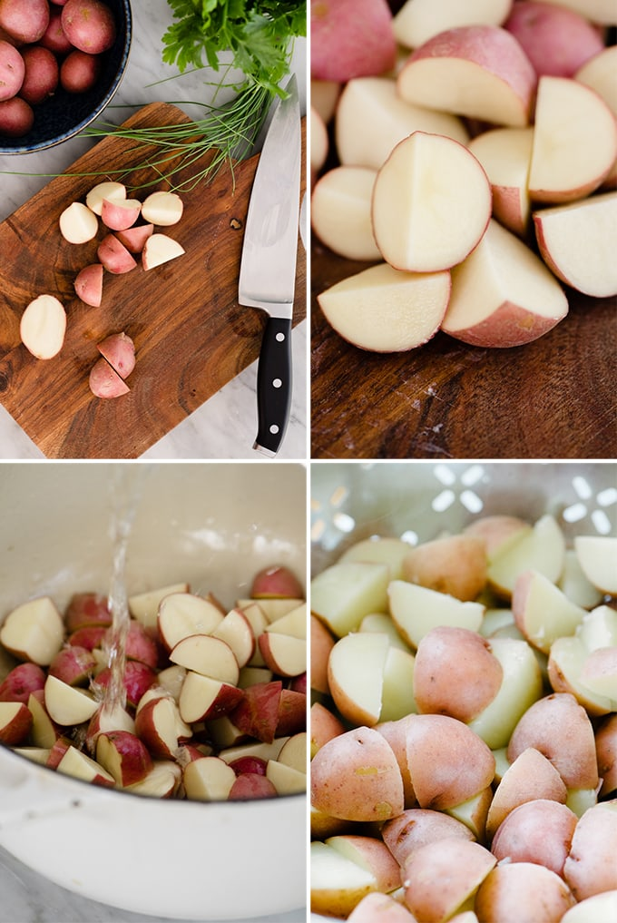 A collage showing how to boil potatoes for potato salad