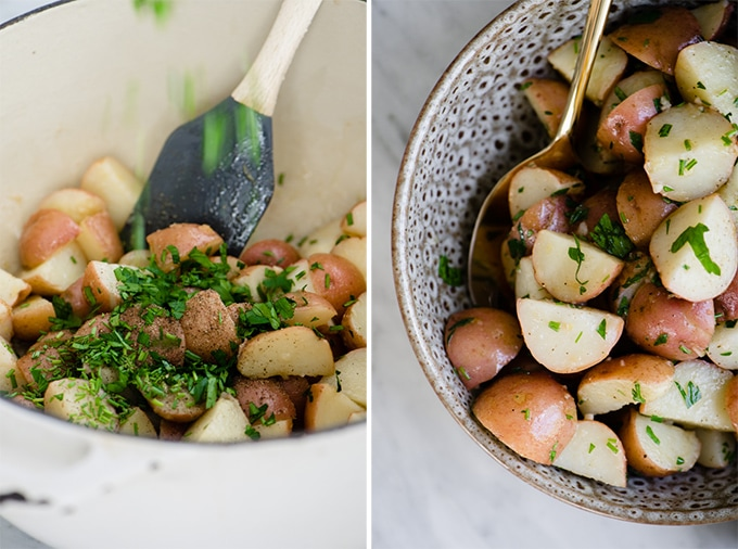 Left - adding parsley to an italian potato salad. Right - classic no mayo italian potato salad in a brown ceramic bowl.