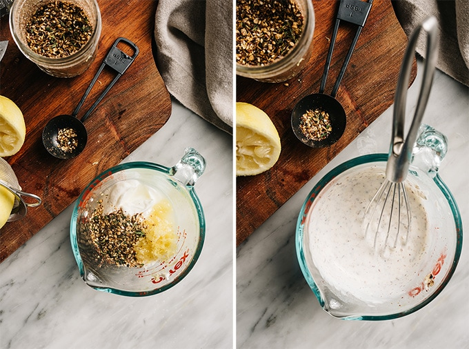 Two images showing how to make a lemon, yogurt, and za'atar marinade for baked chicken breasts.