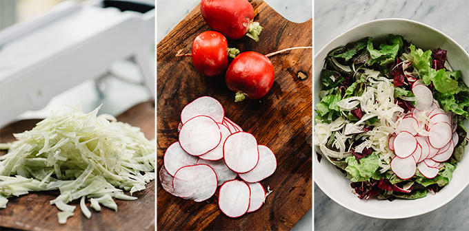 Thinly sliced fennel and thinly sliced radishes on a cutting board; fall butter lettuce salad ingredients in a bowl.