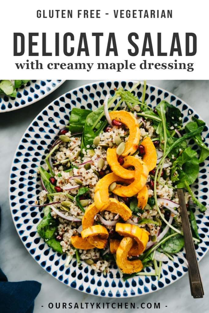 A plate of vegetarian delicata squash salad with quinoa, pomegranates, and creamy maple dressing.