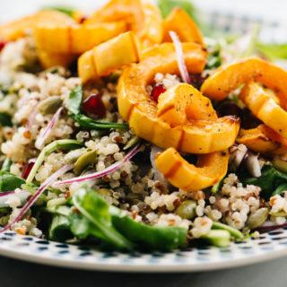 Roasted delicata squash over a salad of quinoa, arugula, pomegranate, pepitas, and red onion and with maple vinaigrette.