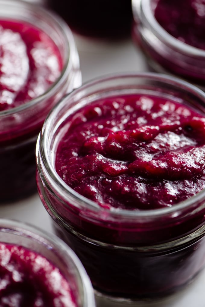 Homemade vanilla infused blueberry applesauce in a small glass jar.