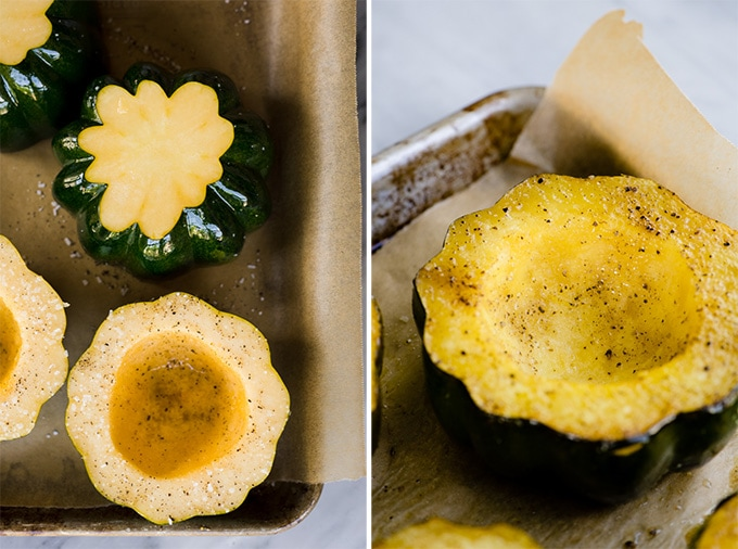 Sliced and seeded acorn squash on a baking sheet before and after being roasted.