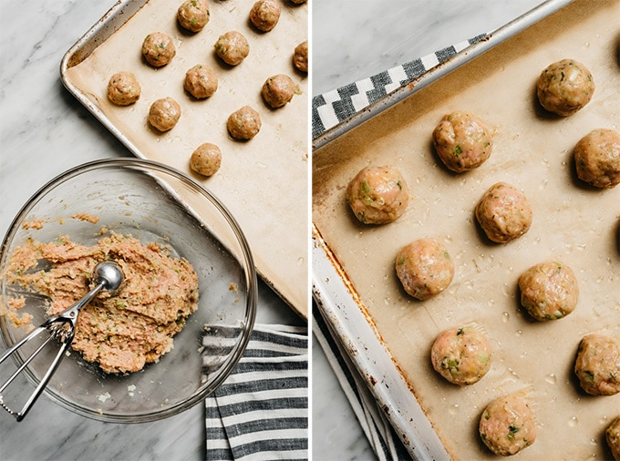 Two images showing how to form and arrange baked turkey meatballs.
