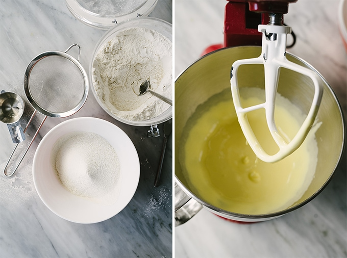 Sifted flour and creamed sugar and eggs for making polish chrusciki.
