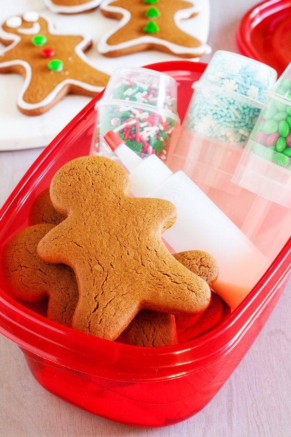 A gingerbread man decorating kit, a fun and easy DIY edible Christmas gift.