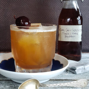 A cocktail made with tea infused bourbon.
