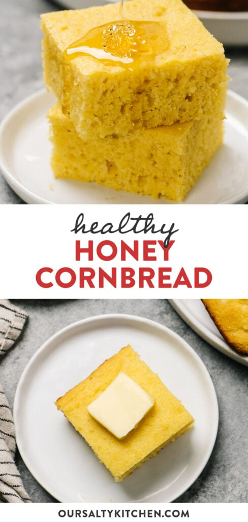 Pinterest image for a honey cornbread recipe made with healthier ingredients like greek yogurt and olive oil.