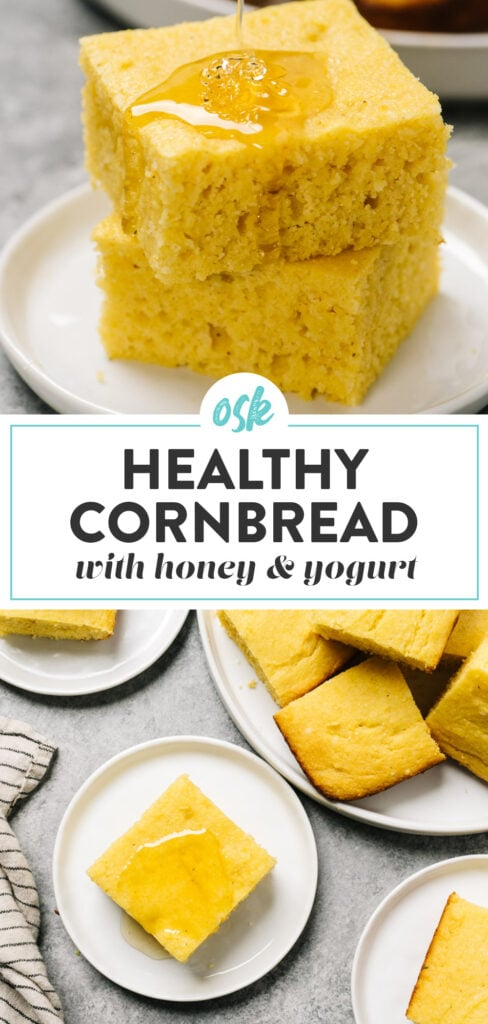 Pinterest collage for a healthy cornbread recipe with honey, greek yogurt, and olive oil.