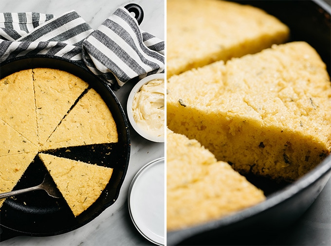 Slices of healthy rosemary cornbread in a cast iron skillet.