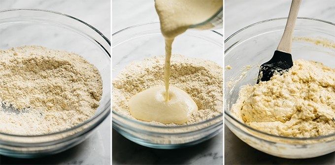Three images showing how to make the batter for a healthy cornbread recipe.