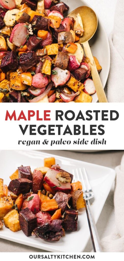 Pinterest collage for roasted root vegetables with maple syrup and thyme.