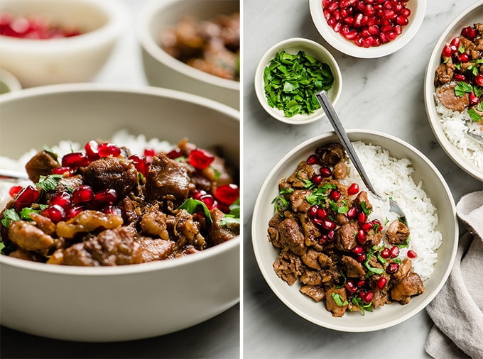 Bowls of braised paleo pomegranate chicken thighs with walnuts, garnished with parsley and pomegranate seeds.