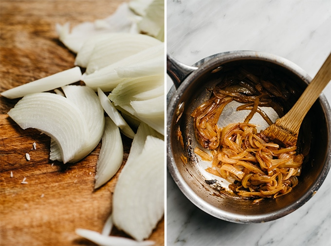 Sliced sweet onions on a cutting board and caramelized onions in a small saucepan.