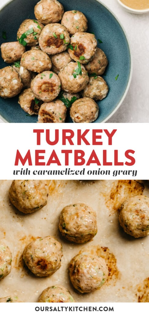 Pinterest collage for healthy baked turkey meatballs.