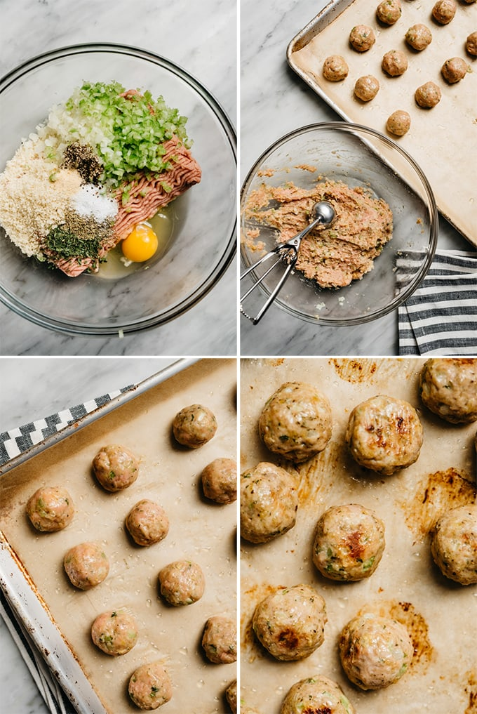 A collage showing how to make turkey meatballs step by step.