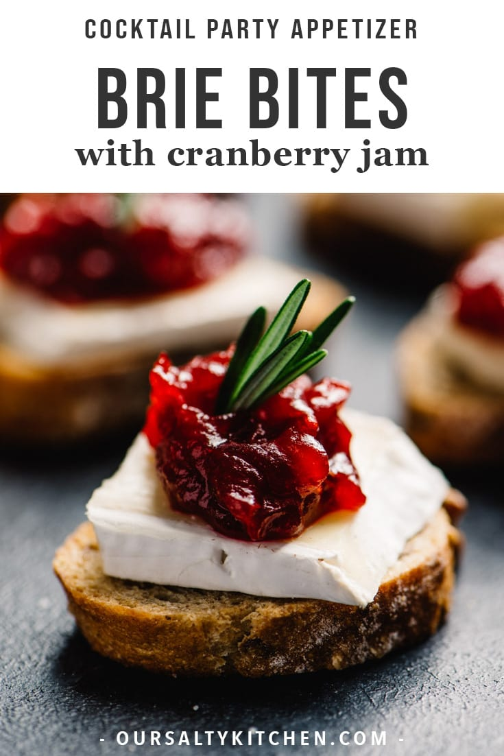 These cranberry brie bites are an easy, fun, and gorgeous cocktail party appetizer, and your guests will love them! Brie and cranberries are natural companions, and these cute little appetizer toasts are a seriously tasty combination of sweet, tart, and salty. They're vegetarian, make ahead friendly, and stress free! These cranberry brie bites are the perfect sweet and savory addition to your cocktail party menu. #appetizer #brie #christmas #vegetarian #snack