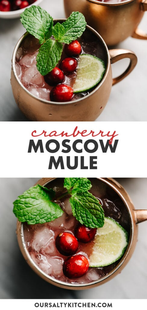 Pinterest collage for a cranberry moscow mule cocktail recipe.