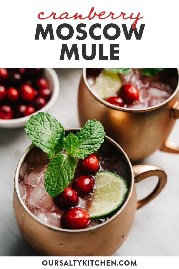Pinterest image for a cranberry moscow mule cocktail recipe.