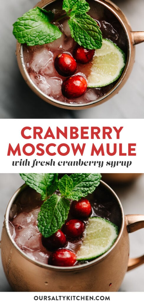 Pinterest collage for a moscow mule cocktail made with fresh cranberry syrup.