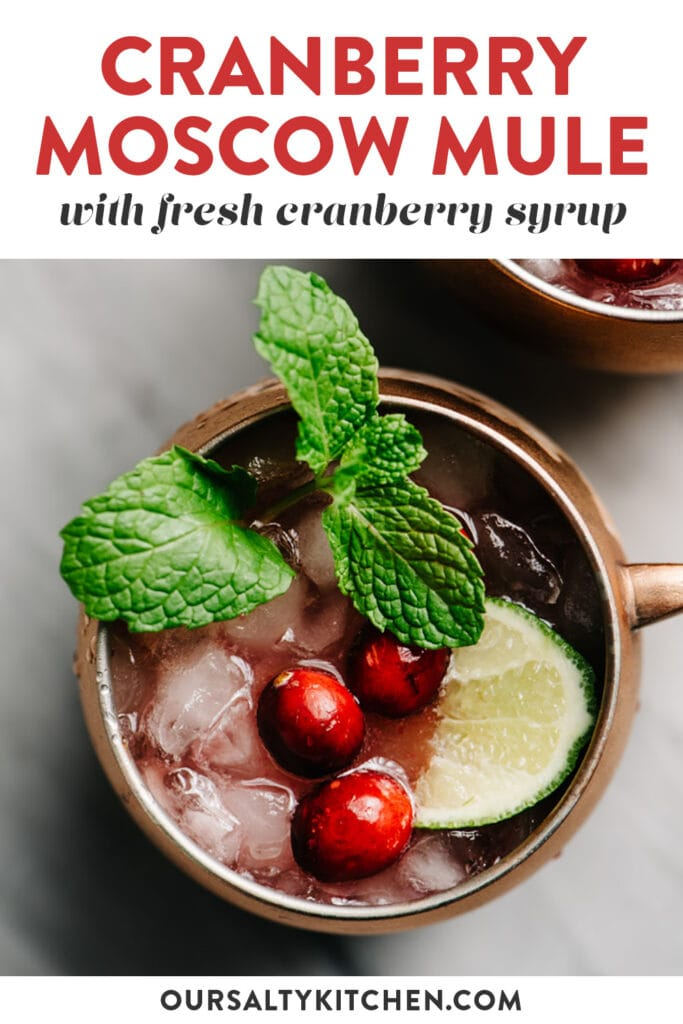 Pinterest image for a moscow mule cocktail made with fresh cranberry syrup.