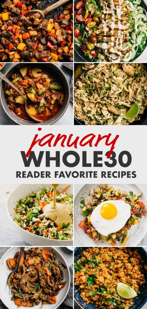 Pinterest collage for a January Whole30 recipe round-up.