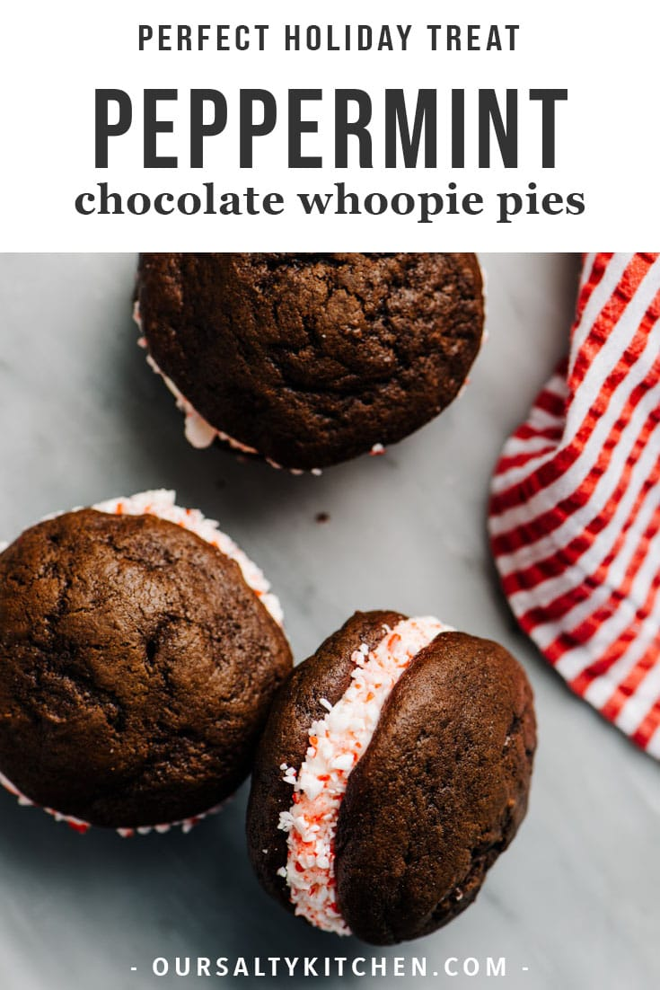 The perfect mash-up of cookies and cake, whoopie pies are a classic cookie recipe. Two moist and tender cookies are sandwiched with creamy frosting for the ultimate dessert. These peppermint whoopie pies take the experience next level with a layer of peppermint throughout, from cookie to frosting to crunchy garnish. They're a terrific edible holiday gift, and the perfect addition to your Christmas cookie table. #christmascookies #peppermint