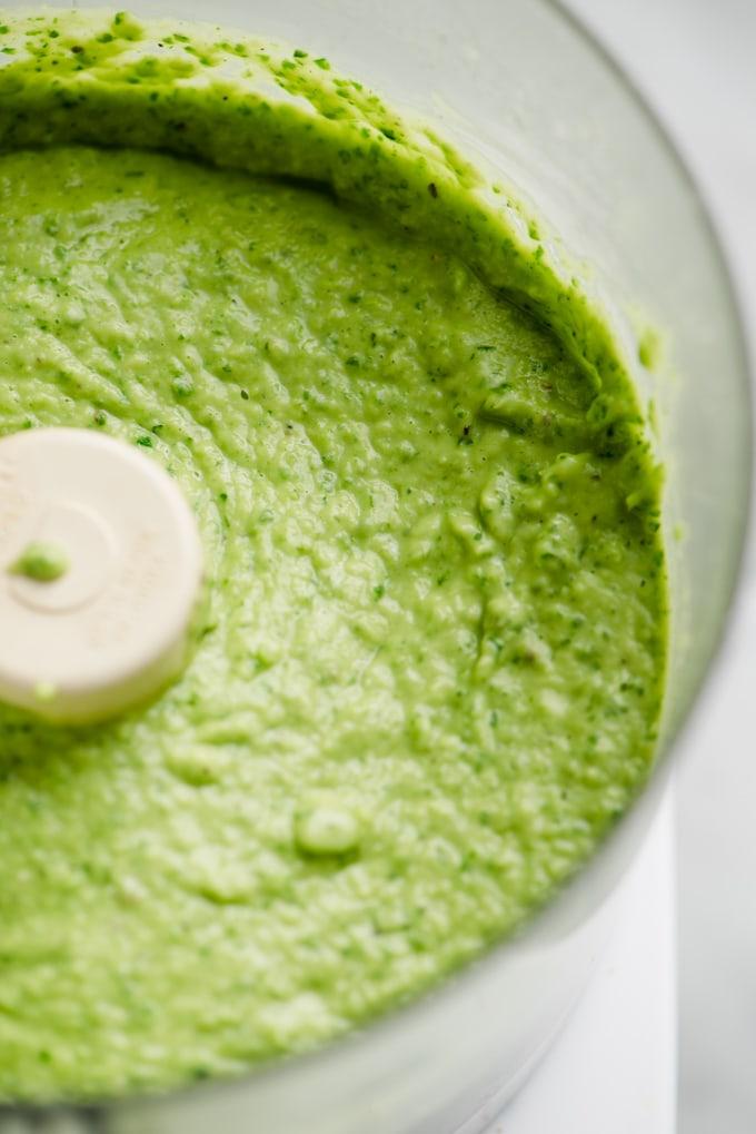 White bean green goddess dip in a blender.