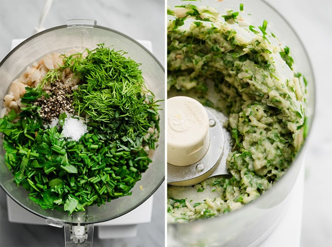 The ingredients for white bean green goddess dip in a food processor before and after being blended.