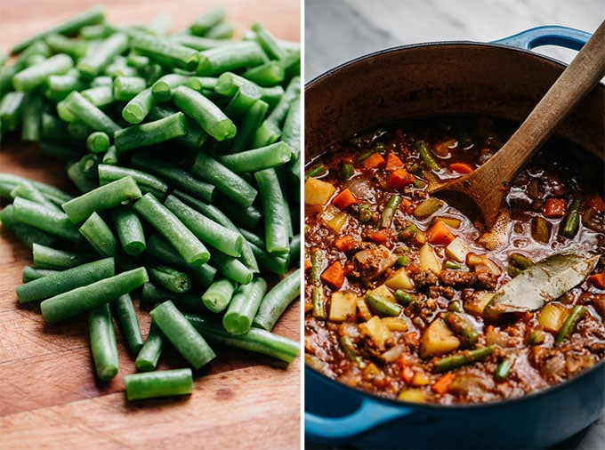 Chopped green beans on a cutting board, and hamburger soup in a dutch oven with fresh green beans added.