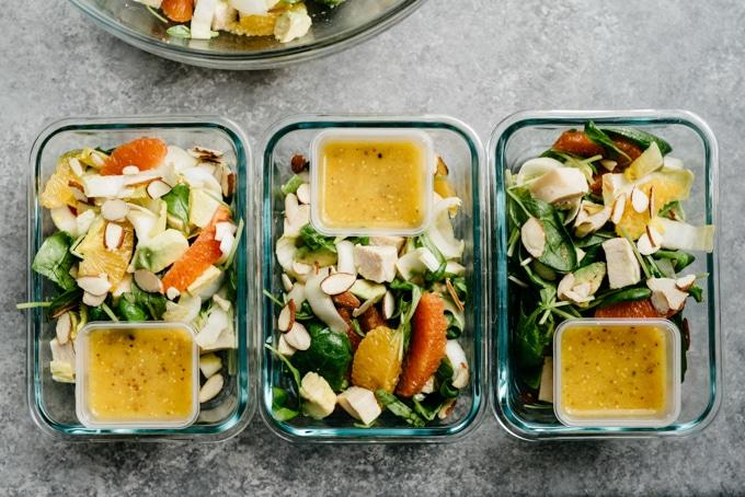 Orange Chicken Salad Meal Prep Bowls