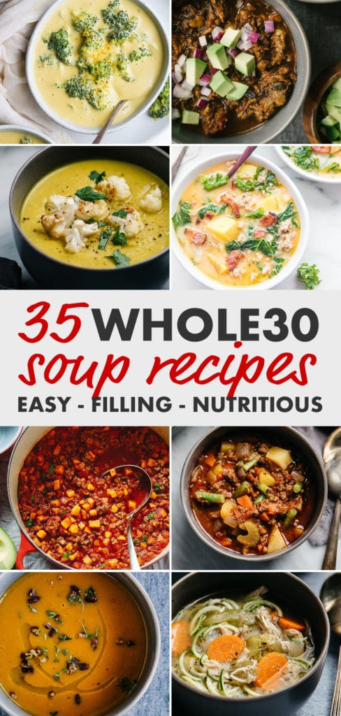 Pinterest image for a round-up of 35 Whole30 soup recipes.