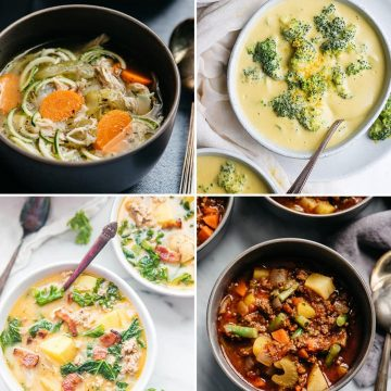 A collage of whole30 soup recipes.