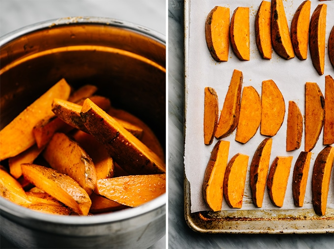 Two images showing how to season and prepare sweet potato wedges for baking into sweet potato fries.