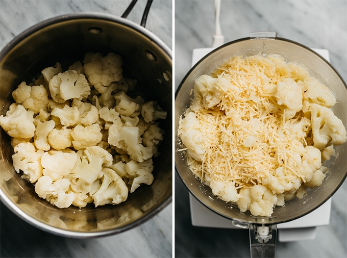 Steamed cauliflower florets in a saucepan, and cauliflower florets with parmesan in a food processor.