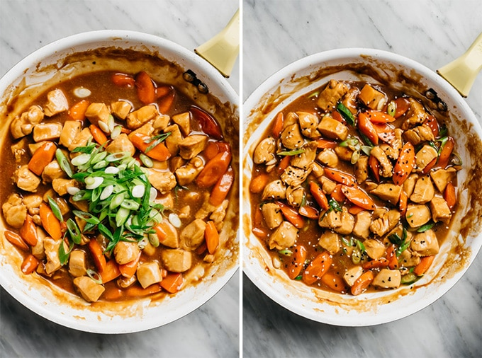Two images of cooked honey garlic chicken in a skillet - before and after adding green onions and sesame seeds.