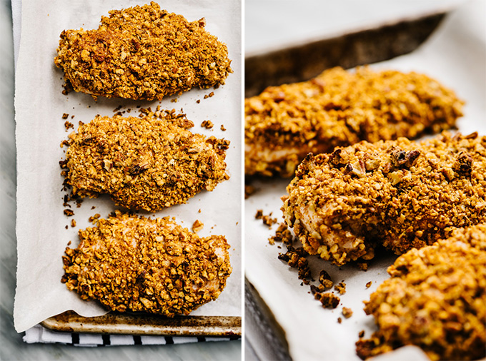 Two images of three baked pecan crusted chicken breasts on a baking sheet.