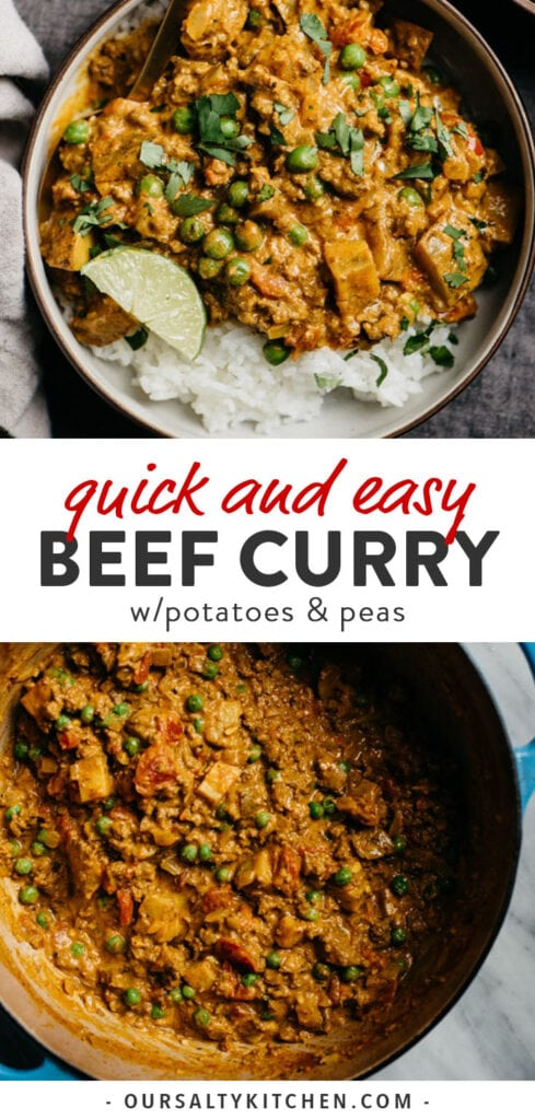 Pinterest collage for a quick ground beef curry recipe.